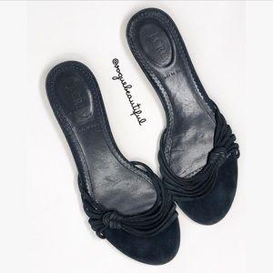 J.Crew Strappy Suede Slide Sandals Navy